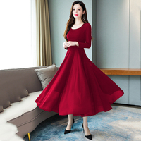 2019 Early Autumn Women Chiffon Maxi Solid Dress Long Sleeve O neck Red Yellow Blue Green White Plus Size 11 Color Work Dresses