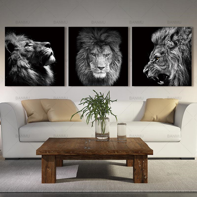Animal lion art prints Wall Art Pictures Canvas Painting  5