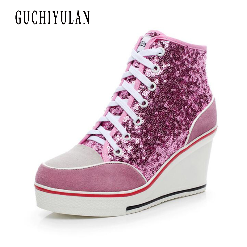 new Women Genuine Leather Sequin Platform Sneakers High Top Lace Up Casual Shoes Femme Hidden Platform Wedge Heel Shoes Ladiesnew Women Genuine Leather Sequin Platform Sneakers High Top Lace Up Casual Shoes Femme Hidden Platform Wedge Heel Shoes Ladies