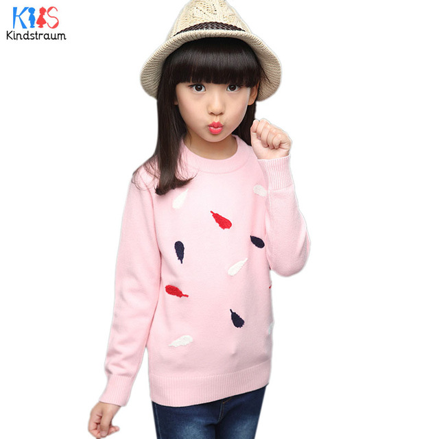 Kindstraum 2017 New Children Full Sleeve Sweater Brand Kids O-Neck Print Feather Clothes Spring & Autumn Wear for Girls,RC1051