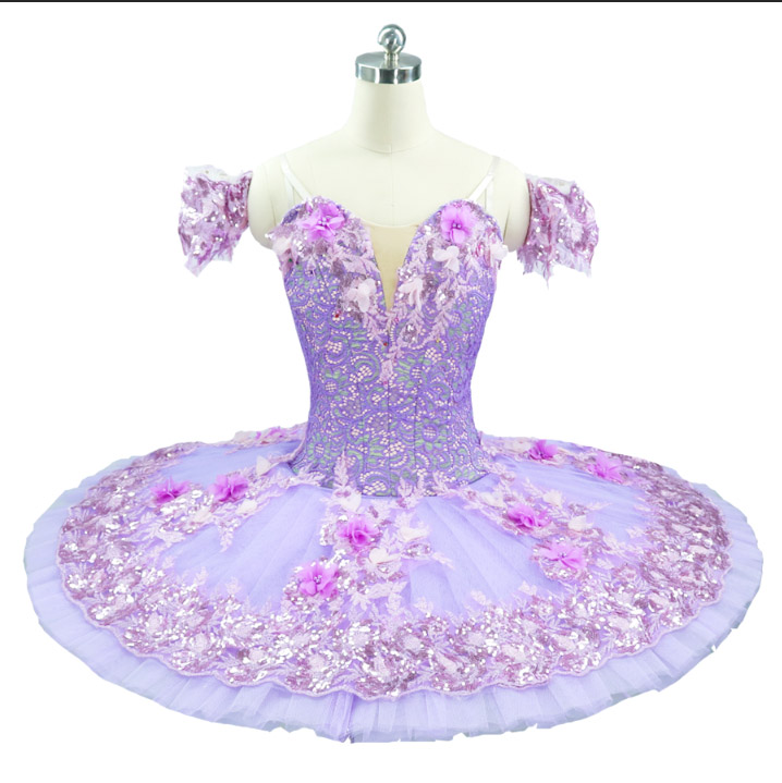 Ballet-Tutu Platter Flower-Fairy Pancake Pink Purple Princess Women Professional
