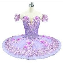 Mor bale Tutu kadın çiçek peri prenses bale kostümleri balerin gözleme tabağı tutuş pembe profesyonel bale elbise
