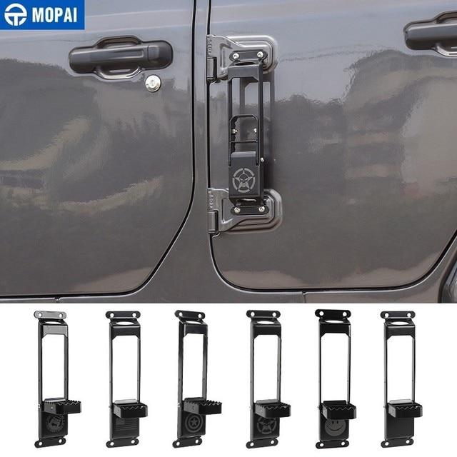 MOPAI Car Door Steps Climbing Kit Foot Plate Door Hinge Foot Rest Pedal Peg for Jeep Wrangler JK JL 2007-2019+ Car Accessories
