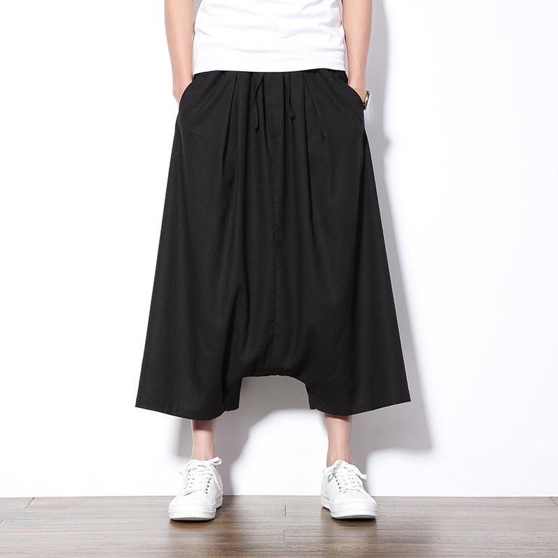 New Summer Harem Pants Men Wide Leg Deep Crotch Casual Men Pants Drawstring Loose Skirt Pant Hip Hop Streetwear Sweatpants Boys