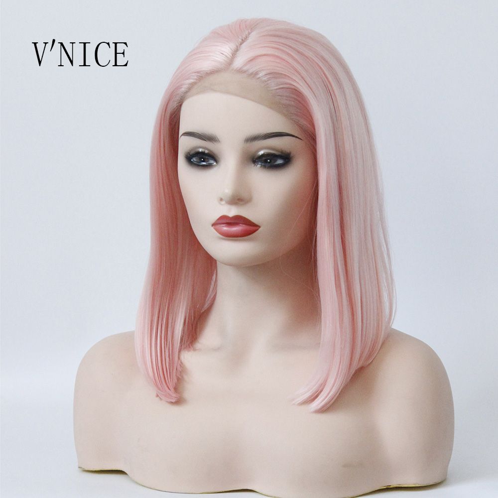 V NICE Middle Part Pink Wig Synthetic Lace Front Bob Straight Wigs Short Bob Elastic Lace