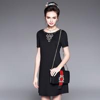 활주로 드레스 2017 여름 높은 품질의 다이아몬드 중년 여성 우아한 dress 짧은 소매 브랜드 스타일 dress 플러스 사이즈 l-5xl