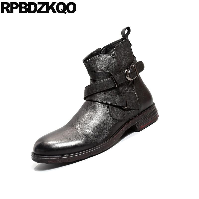 Masculino Mano Mas Negro Cima Calzado Botas Corto Hecho Piel Alta Granos 2018 Vintage Zapatos Diseñador marrón Cómodo Cremallera Hombre Equitación Fornido Elegante Moto Caer De Moda Marrón Negro Runway Del A q8wXB