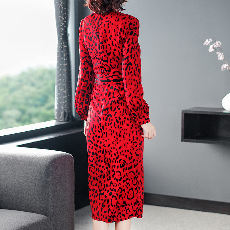 Tcyeek Vestidos Fiesta Dell annata Dal Red Leopardo Donne Primavera Estate  Rosso Lwl1667 Partito A Delle ... 2dd3931618a4