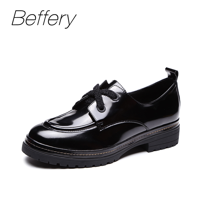 Beffery Basic Patent Leather Flats shoes for women Round toe Lace-up casual shoes 2018 autumn fashion platform shoes black red beffery spring patent leather oxford shoes women flats pointed toe casual shoes lace up soft leather womens shoes retro brogues