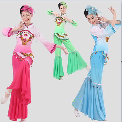 Stage & Dance Wear 2017 Dance Costumes Hmong Clothes Chinese Folk Dance Drum Yangko Clothing Fan Square Stage Performance Wear Special Costumes Wide Varieties Chinese Folk Dance
