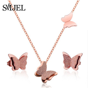 SMJEL Fashion Butterfly Necklaces Set Gold Animal Pendants Necklace for Women Stainless SteeJewelry Gift for Girl Collier Femme(China)