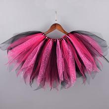 Новая Пышная юбка-пачка черного и розового цвета для девочек детские блестящие девичьи танцевальные юбки-пачки для дня рождения, фатиновая юбка Детский костюм на Хэллоуин