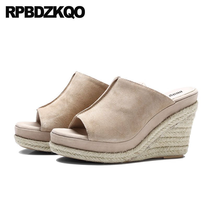 Rope Wedge Sandals High Heels Platform Designer Genuine Leather Slides Espadrilles Women Shoes Slip On Fashion Pumps Peep Toe 2016 summer women flat platform slippers fashion hemp rope insole ladies genuine leather buckle sandals designer espadrilles