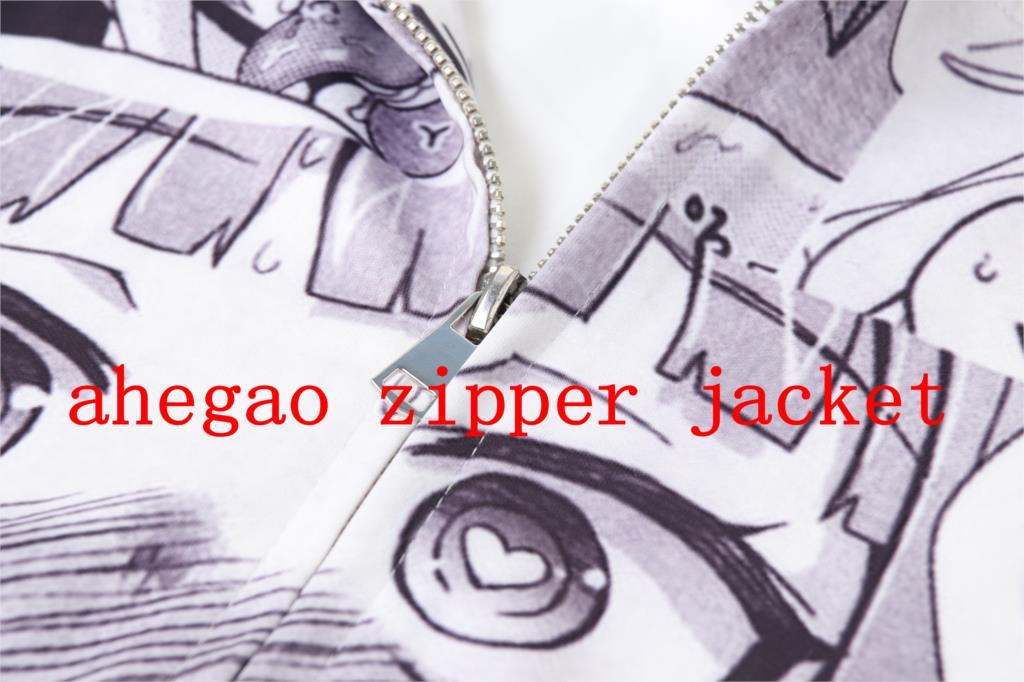 3D Ahegao Hoodies Women Men Funny Shy Girl Face Sweatshirt Zip Up Jackets 15