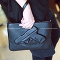 Designer fashion bag 3D Gun Clutch Women handbag Pistol Embossed wristlet Bolsa