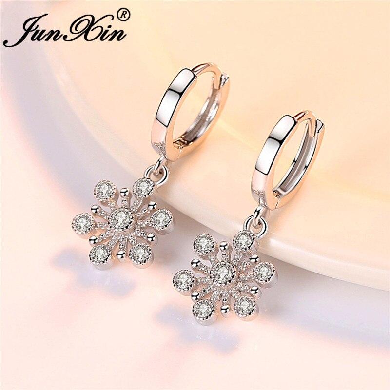 JUNXIN Cute White Crystal Snowflake Drop Earrings For Women Silver Color Female Zircon Wedding Dangle Earrings Jewelry