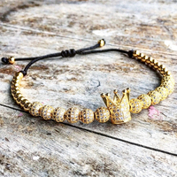 New Zircon Bracelets Men Jewelry Cubic Micro Pave CZ Crown Charm 4mm Round Beads Braided Macrame