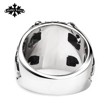 Designer Thumb Fashion vintage punk skull cross Skeleton male ring men's Stainless Steel Jewelry
