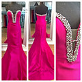 Abendkleider Fuchsia Mermaid Evening Party Dress Long Vestido de Festa Longo Crystals Beaded Prom Dresses Cheap Satin Sweetheart