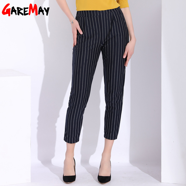 GAREMAY Female Harem Pants With Stripes Women Stretch High Waist Stripe Pants Ladies Causal Loose Women's Trousers With Stripes