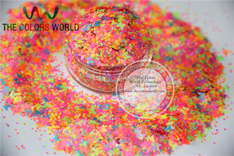Mix Neon Colors Butterfly and Hexagon Shape   Glitter.jpg