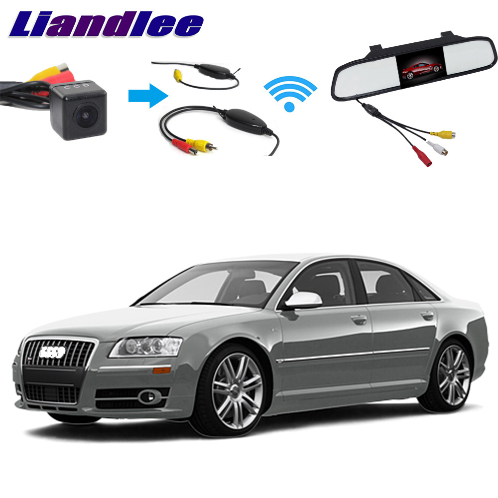 Liandlee 3in1 Wireless Receiver Mirror Monitor Special Rear View Camera DIY Backup Parking System For <font><b>Audi</b></font> <font><b>A8</b></font> S8 <font><b>D3</b></font> <font><b>4E</b></font> 2002~2006 image