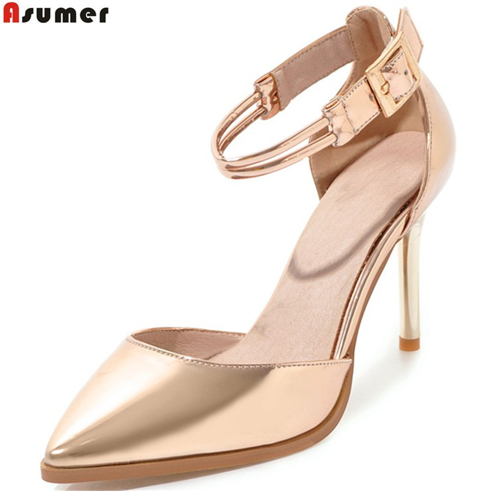 ASUMER pink silvery fashion spring autumn shoes woman pointed toe buckle thin heel wedding shoes sexy women high heels shoes womens shoes high heel woman pumps spring autumn basic silk slip on pointed toe thin heels sexy wedding shoes ljx04 q