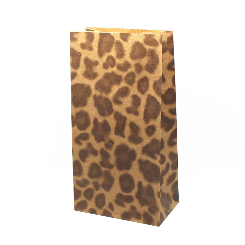 DHL 300Pcs/Lot 23*12*7.5cm Open Top Kraft Paper Gift Packaging Bag Stand Up Leopard Print Flat Top Gift Shopping Package Bags