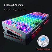 64 Layout All-Metal Mechanical Keyboard Bluetooth Dual-Mode Cool RGB Backlight Anti-Ghosting Teclado Mecanico For Tablet Desktop