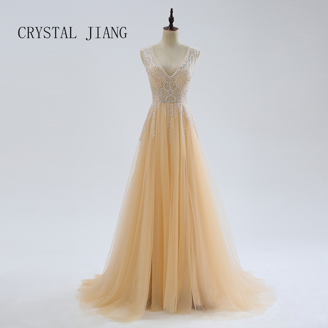 CRYSTAL JIANG Beaded Side Split Prom Dresses Long Crystal Deep V Neck A Line Evening Gowns Formal Tulle Plus Size Party Dress