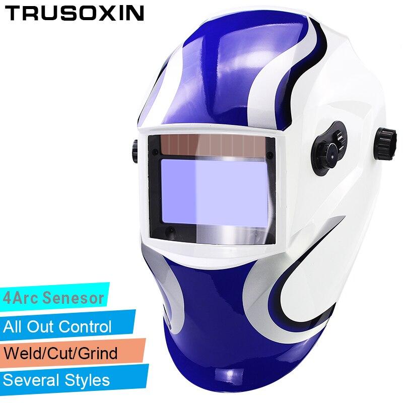 Out Adjust большой вид Eara 4 дуги Сенсор шлифования, резки Солнечная Авто Затемнение TIG MMA, MIG Маска/шлем /сварщик Кепки/маска для лица