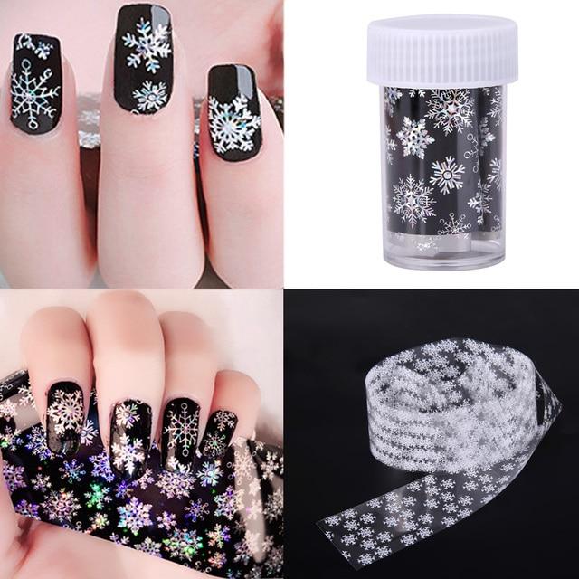 Black White Shining Snowflake Nail Art Stickers Foil Water Transfer ...
