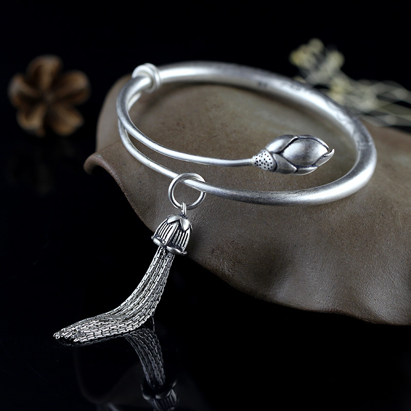 Lotus Sutra 990 Sterling Sterling Silver bangle Tibetan Buddhist scriptures language female hand jewelry wholesale bracelet