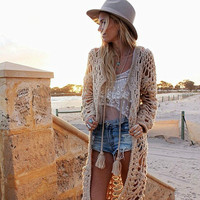 Bohemian Long Hand knitted Cardigan coarse Hook Flowers wool loose Long Hollow sweater Beach Irregular Knit coat with Tassels