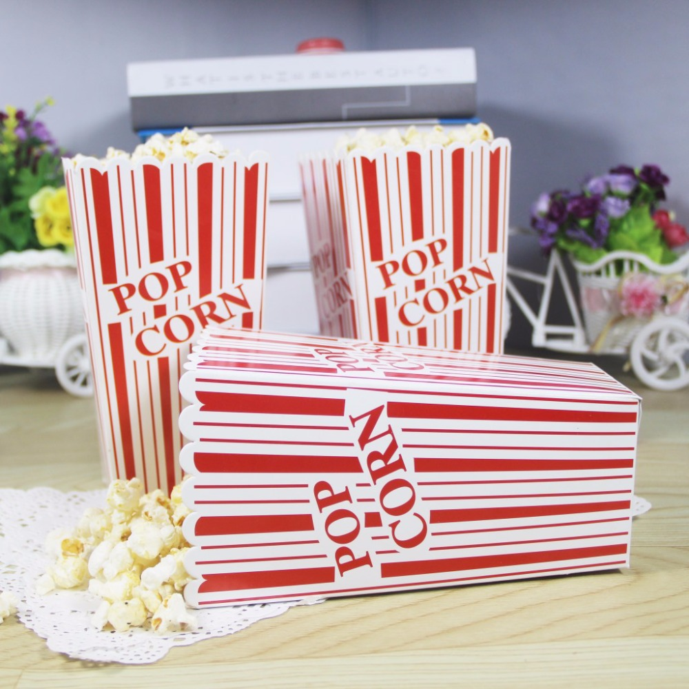 100Pcs Popcorn Paper Boxes Bags Container Popcorn Wedding Birthday ...