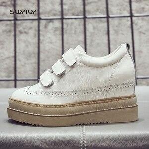 Image 2 - Swyivy Chaussures Lederen Casual Schoenen Vrouw Sneakers Femme 2019 Winter Platform Witte Sneakers Voor Vrouwen Haak Lus Dames Schoen