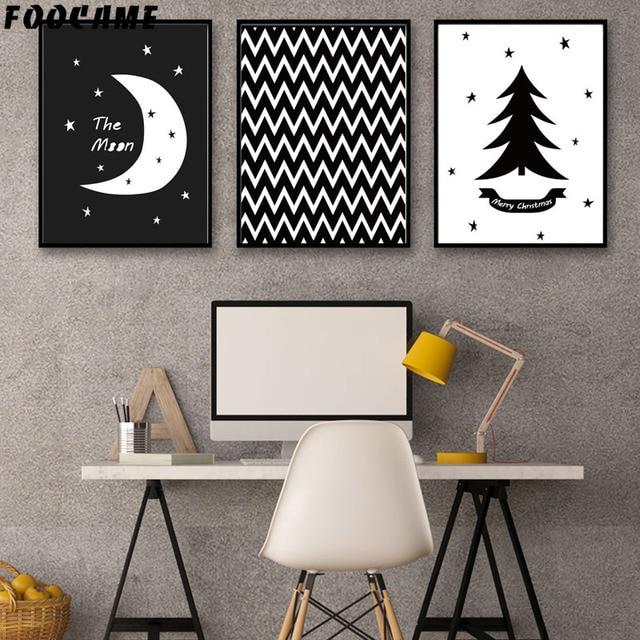 Foocame Kartun Bulan Pohon Pinus Hitam Putih Poster Dan Cetakan Seni