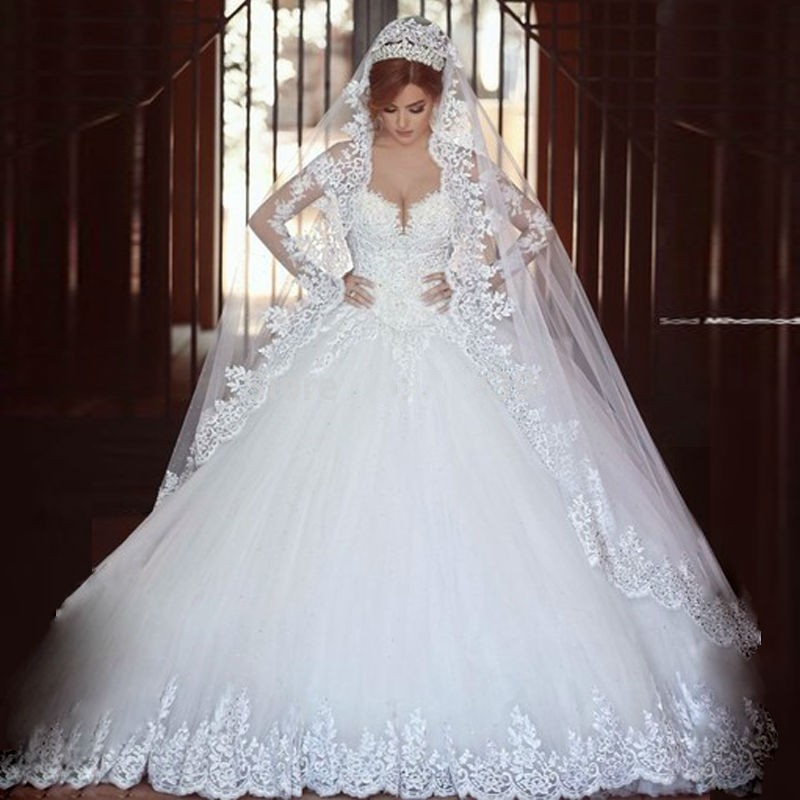 HOT SALE Sexy Long Sleeves Ball Gown Lace Wedding Dress 2019 Luxurious Romantic Beaded Sequins Appliques Long Bridal Go
