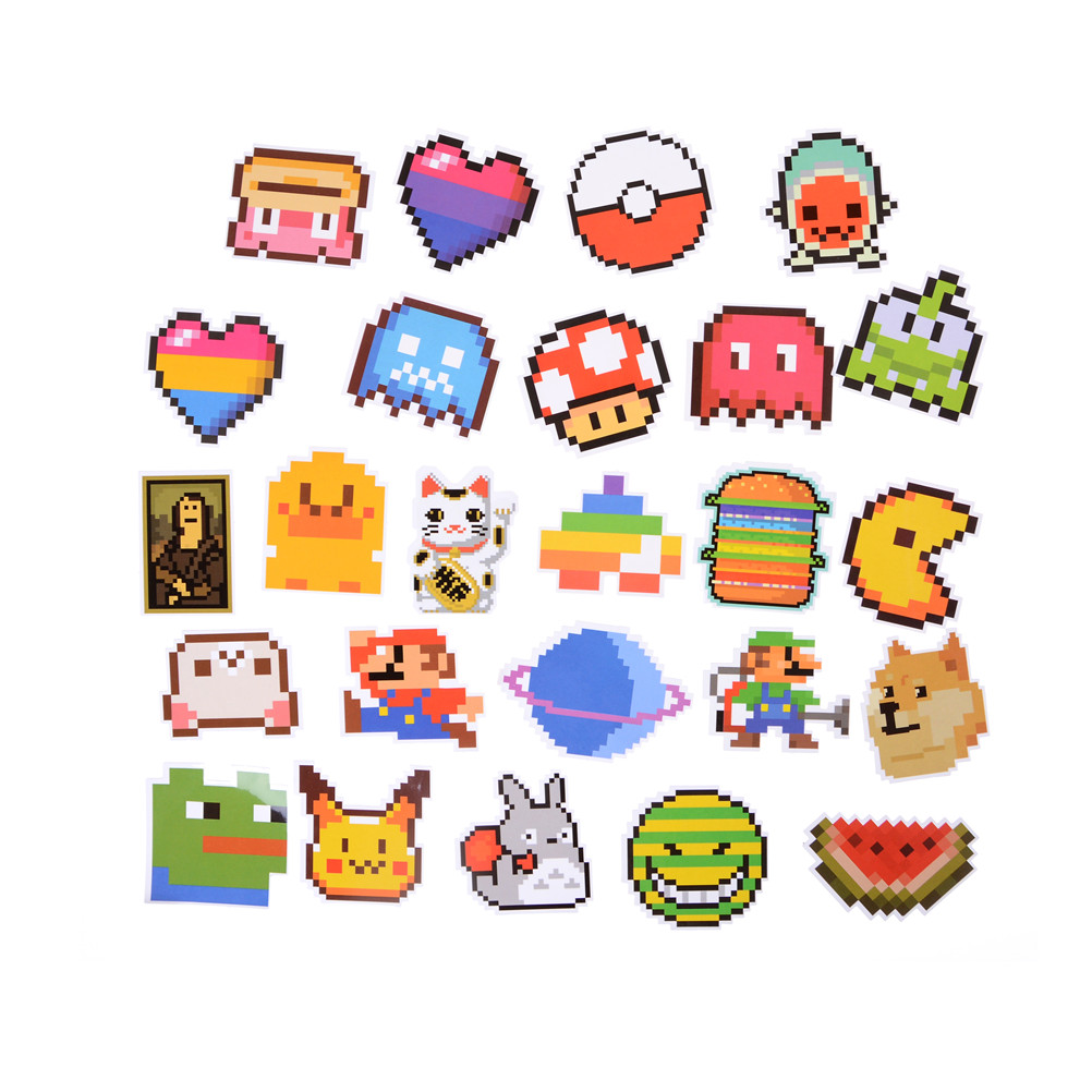 25pcs/lot Cartoon Mario Pixel Style Sticker For Car Laptop Luggage Skateboard Backpack Tables Case Decal Kids Toy Sticker Stickers