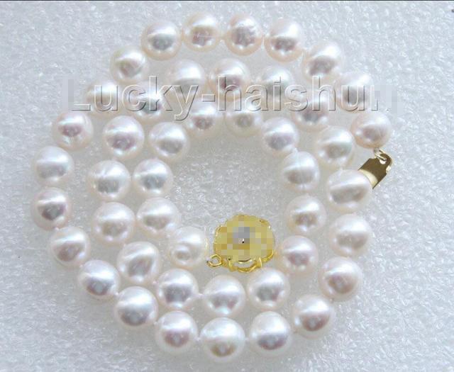 "Venda Hot new Style >>>>> luster 17 ""10mm natural rodada de água doce branco colar de pérolas j9469"
