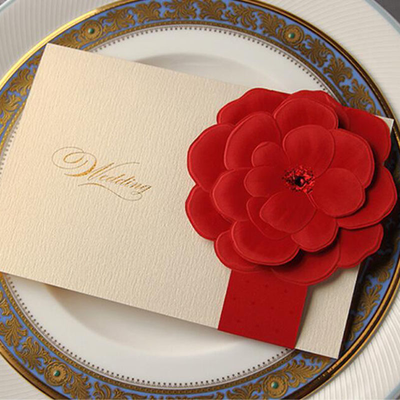 25pcs Wedding Card Chinese Style Laser Cut Luxurious 3D Red Floral Flower Wedding Invitation Card Wedding Decoration Supplies 1 design laser cut white elegant pattern west cowboy style vintage wedding invitations card kit blank paper printing invitation