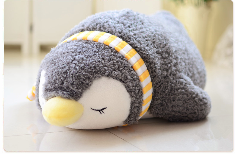 small cute plush gray scarf penguin toy lying penguin doll gift about 55cm 2668