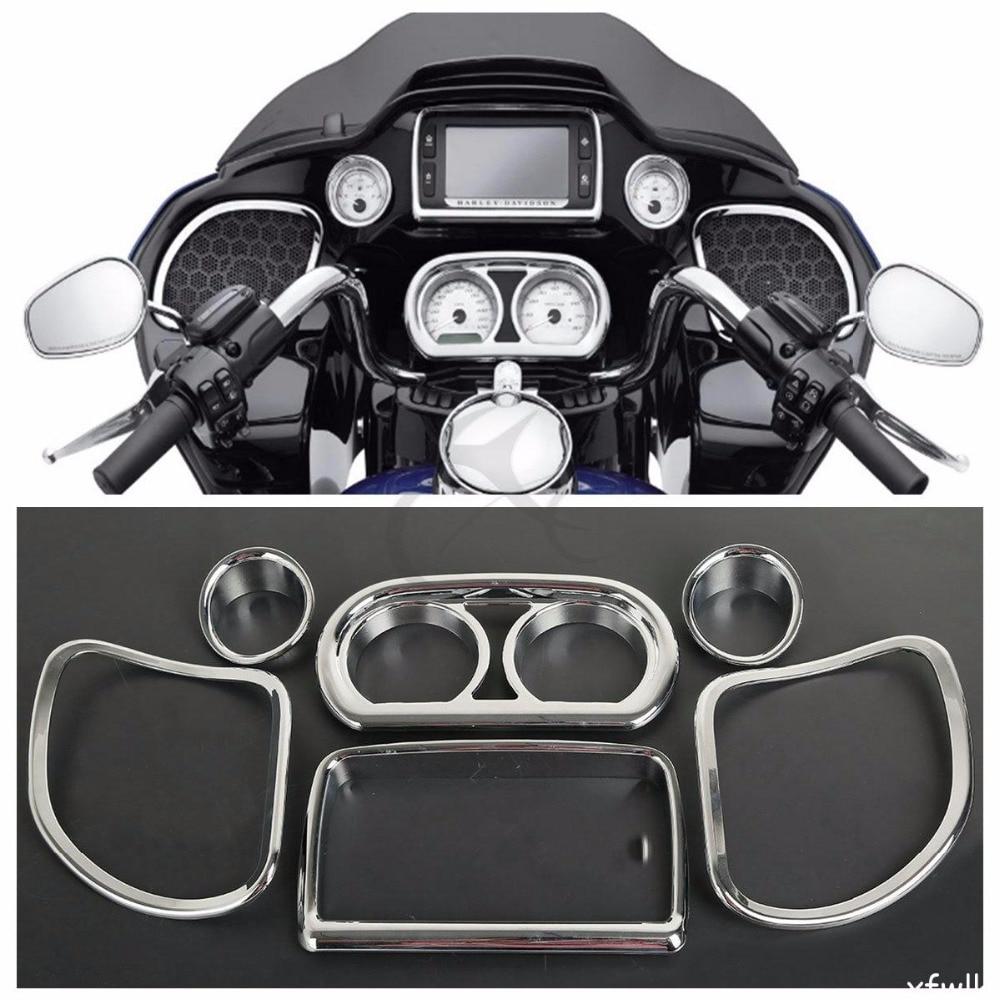 Motorcycle Chrome Inner Fairing Speedometer Gauges Radio Speaker Trim Kit For Harley Road Glide FLTRX FLTRXS