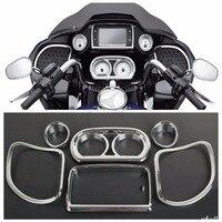 Motorcycle Chrome Inner Fairing Speedometer Gauges Radio Speaker Trim Kit For Harley Road Glide FLTRX FLTRXS 2015 2018