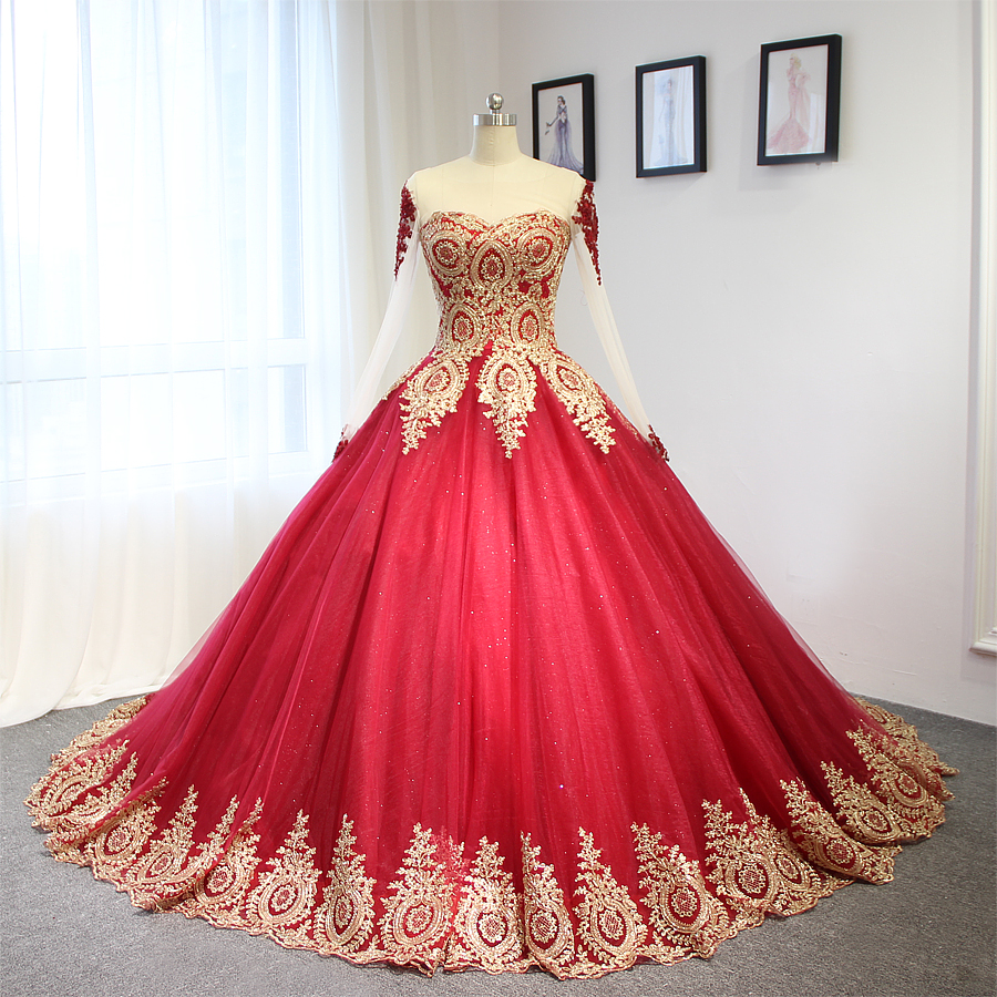 2017 luxury wine red with golden lace wedding dress ball for Red wedding dresses with sleeves