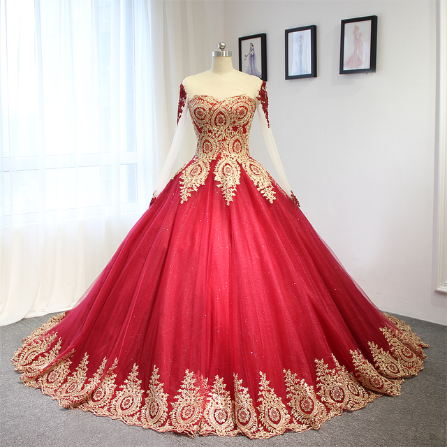 2017 Luxury Wine Red With Golden Lace Wedding Dress Ball Gown With ...