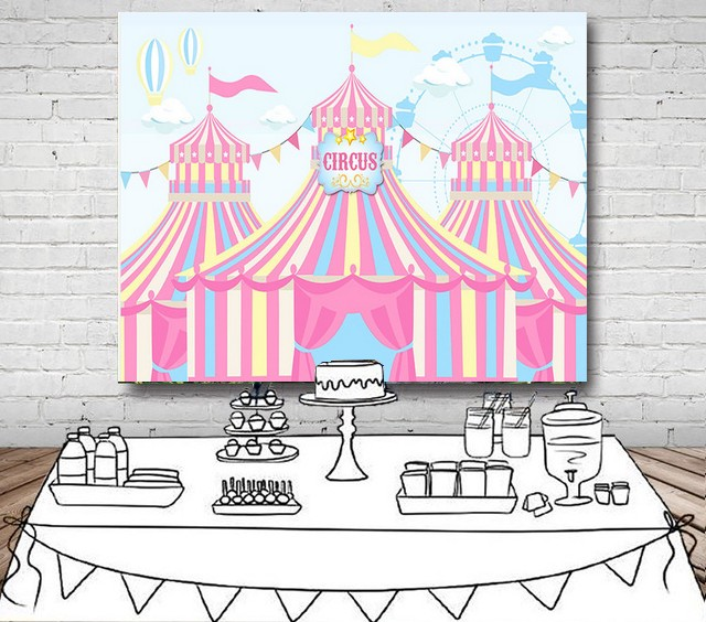 carnival birthday banner pink circus striped photo