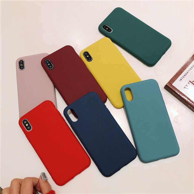 Étui pour iphone souple givré 11 Pro 7 8 6 6s Plus XS Max XR 5 5s se X housse souple silicone coque de téléphone couleur unie Capa