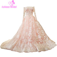 AOLANES 2018 Lace Beads Crystals Tulle Boat Neck Long Sleeves Pink Bride Dresses 3d Flowers Vintage Wedding Dresses