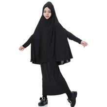 Arab Muslim Sets Girls Hijab and Dress Children Ethnic Solid Abaya Dresses 12 Colors